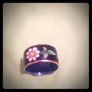 Vintage Brass and ceramic ring
